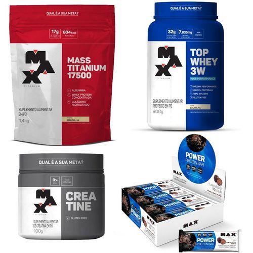 Kit: Top Whey 3W +Performance + Mass Titanium + Creatine + Power Protein Bar