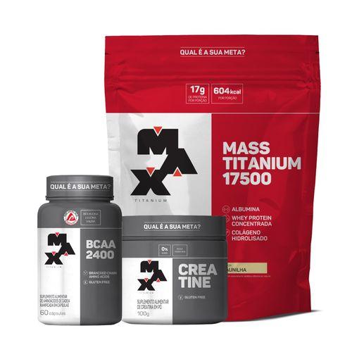 Kit  : Mass Titanium 3Kg + Creatina 100G + Bcaa 60 Caps