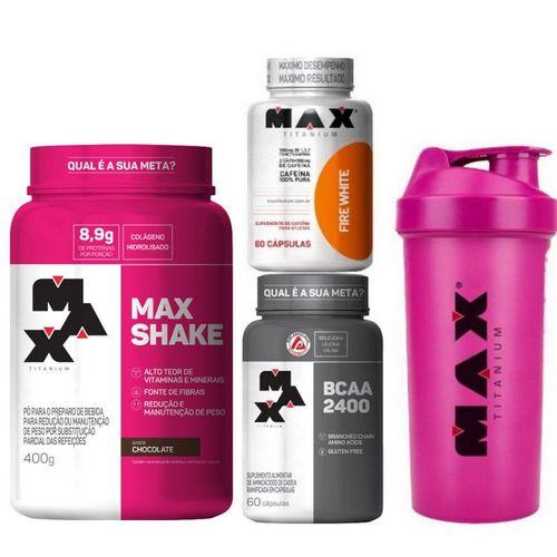 Kit: Max Shake + Bcaa 2400 + Fire White + Coqueteleira