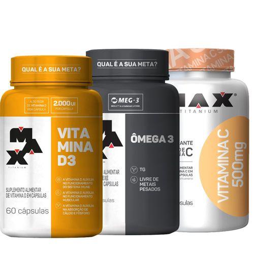 Kit : Ômega 3 + Vitamina C + Vitamina D3